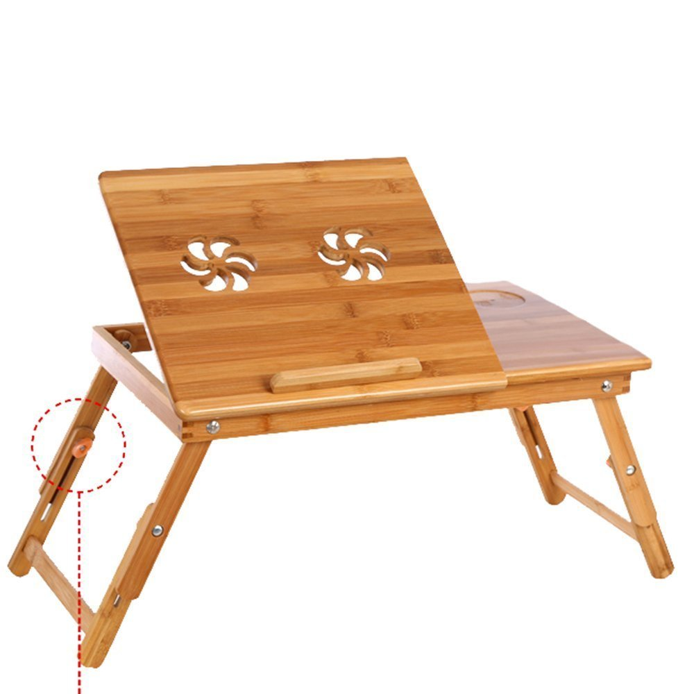 J&L Bamboo Bed Tray Laptop Knee Table Bedside Notebook Reading Coffee Table 55 x 35 cm Height Adjustable