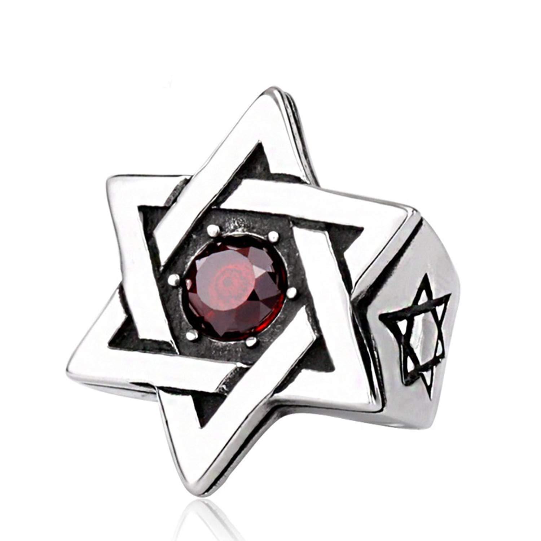 YABENI Estrella judía de Titanio de Acero de los Hombres de David Mate Acabado en los Anillos de Diamante Rojo Textura Cepillado YA-Ring
