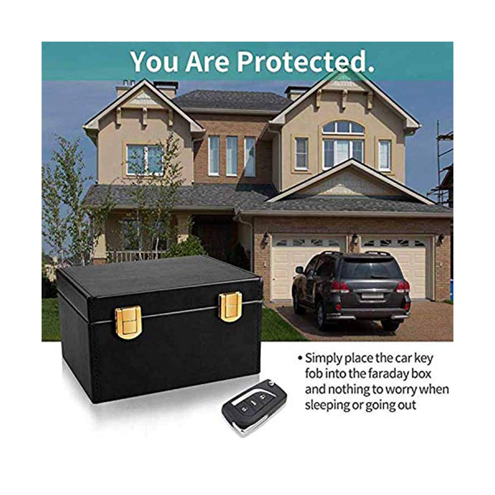 PU Leather Anti-Theft Signal Blocker Car Keys Box Key Fob Storage Box RFID Blocker Pouch Protector for Smart Keys Cards House Indoor