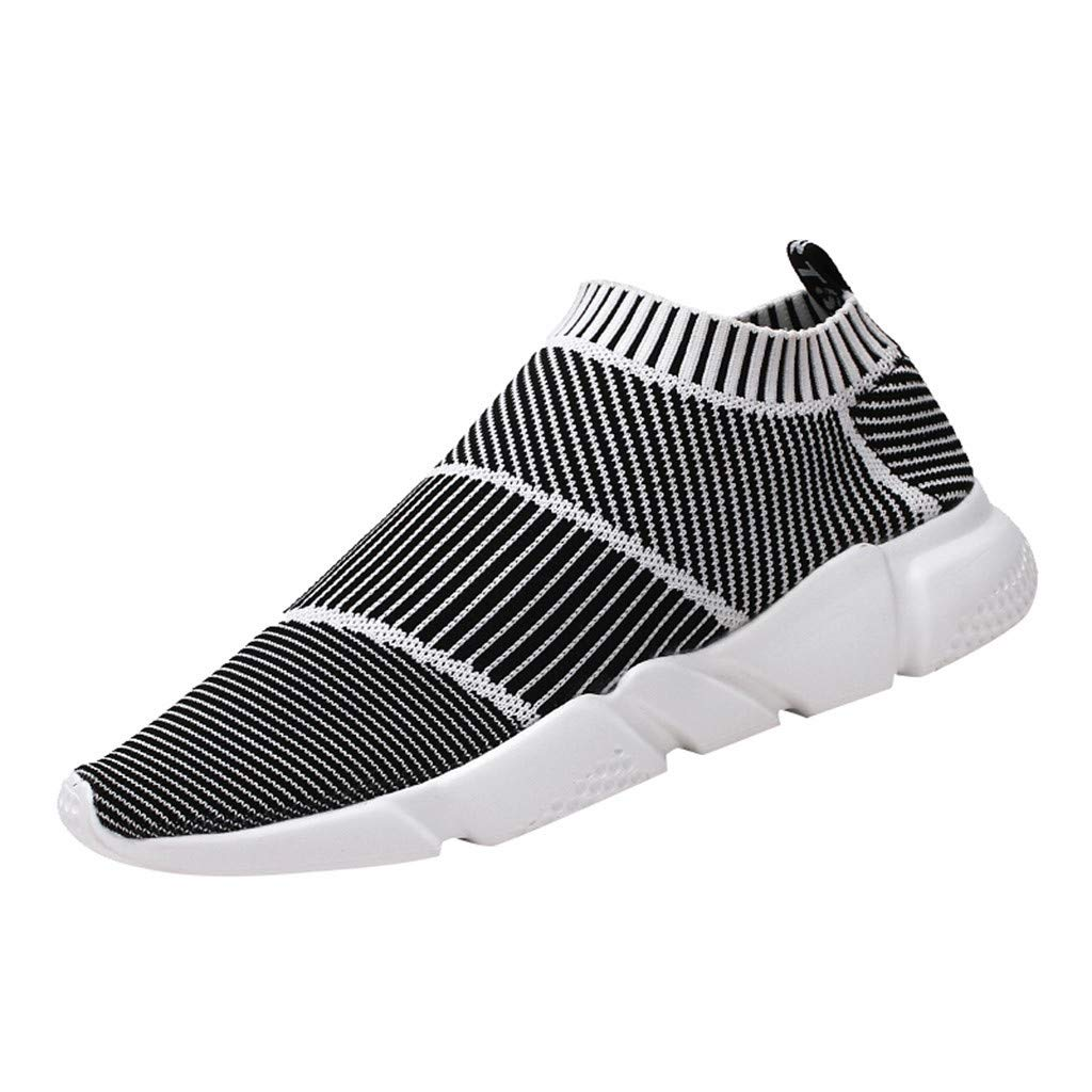Yomiafy Men's Breathable Mesh Sneakers Non-Slip Wear-Resistant Sport Shoes Student Casual Lazy Shoes(White,US:7.5)