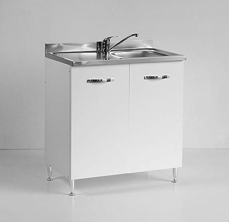 Mobile Con Lavello Cucina.Mobile Per Cucina Sottolavello Bianco Due Ante Reversibile Cm 80 Amazon It Casa E Cucina