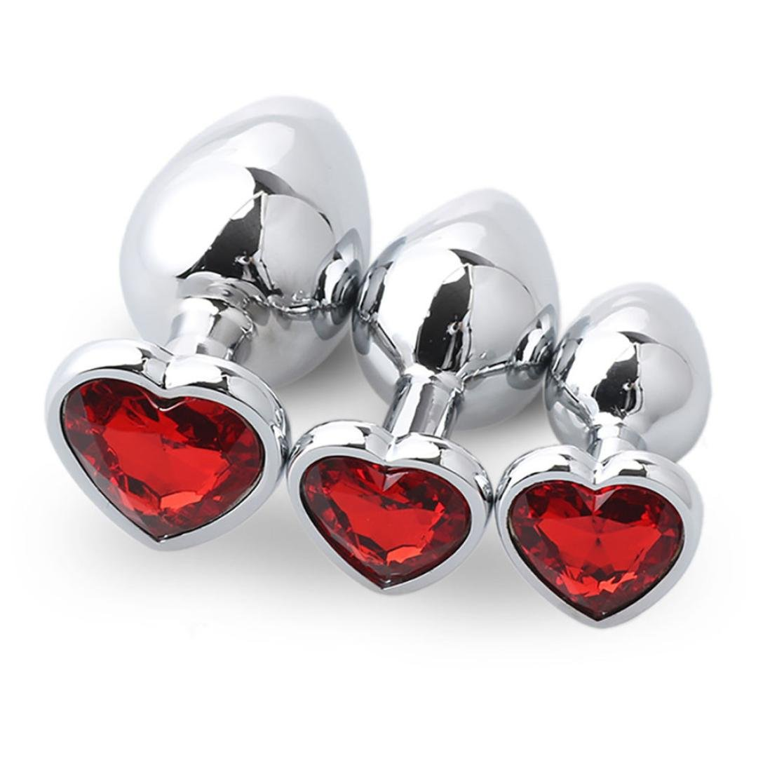 Yoyorule 3 Pcs Heart Shaped Butt-Anal-Play Sex Base with Jewelry Birth Stone G-spot Rose Jewel (Red)