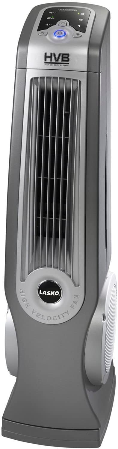 Lasko 4930 Oscillating High Velocity Tower Fan with Remote Control – Features Built-in Timer and Louvered Air Flow Control