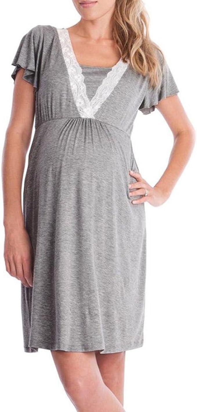 Frauen Fashion Lace Stitching multifunktionale Stillen Kleid