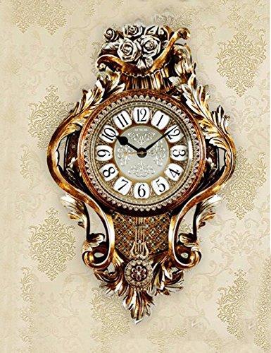 SUNQIAN-Large European style living room wall clock, mute American fashion carved art clock, quartz clock, clock swing,D by SUNQIAN