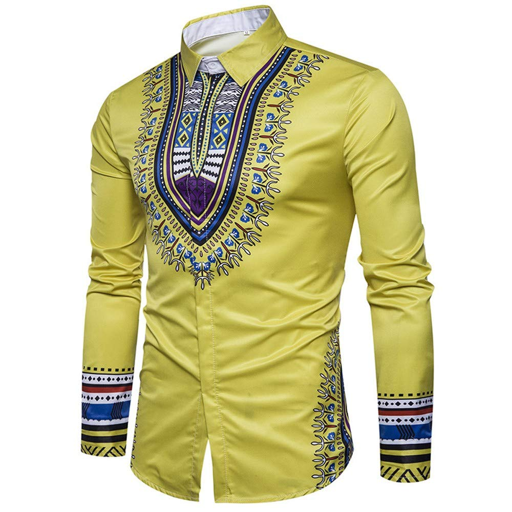 WM /& MW Mens Casual Slim Fit Shirt Long Sleeve Fashion Boho African Print Blouse Button Shirt Tops