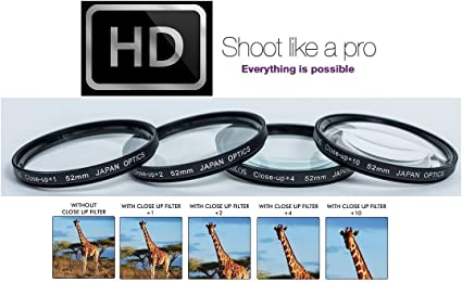 Hi-Def 4-Pcs Close Up Macro 1+2+4+10 Lens for Panasonic Lumix DMC-FZ2500