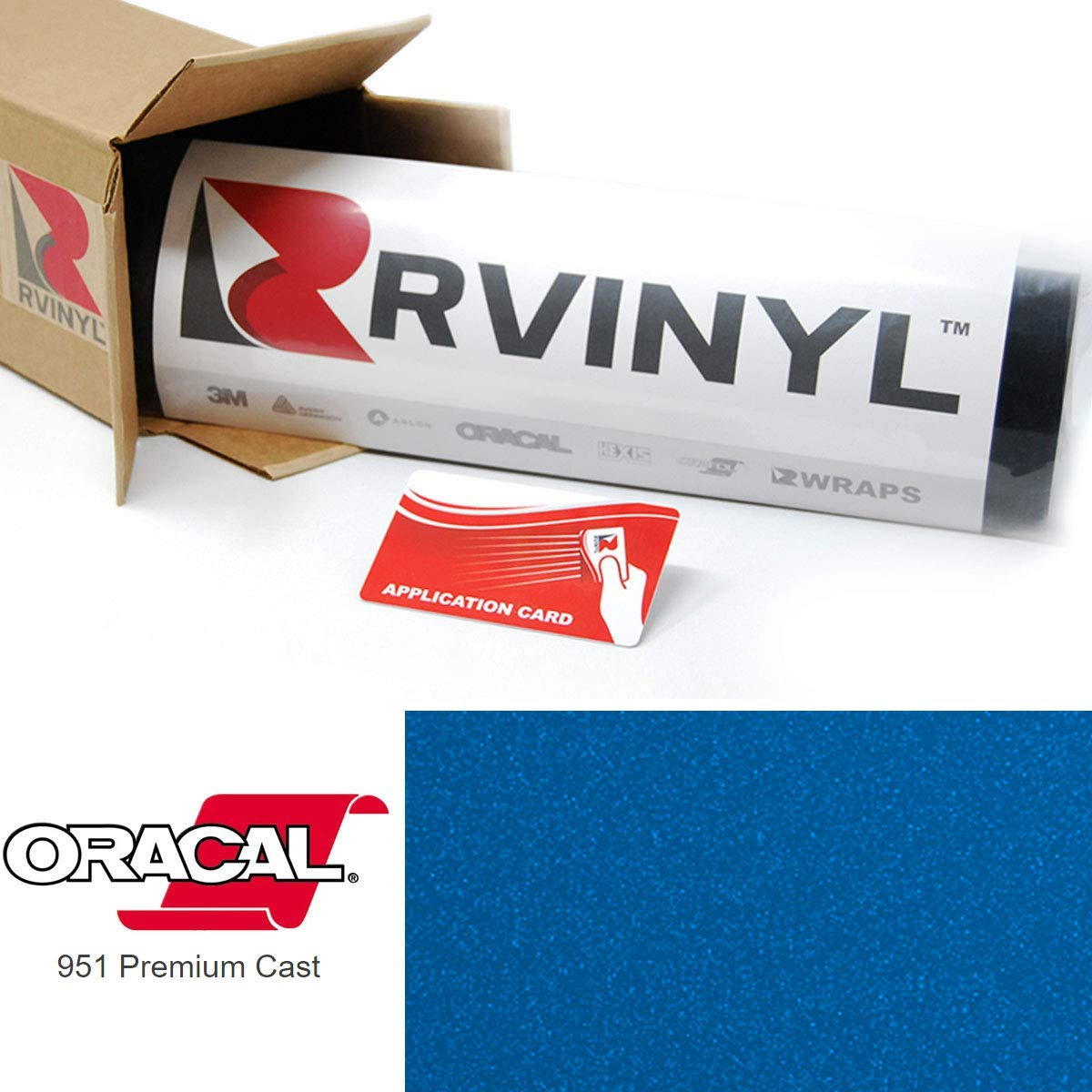 ORACAL 951 Bever Blue Metallic 580 Premium Cast Film 2ft x 10yd W/Application Card Vinyl Film Sheet Roll - for Cricut, Silhouette Cameo, Craft and Sign Cutters