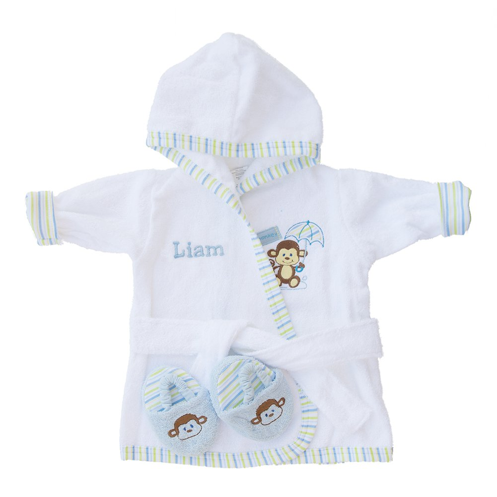 PERSONALIZED Monogrammed Monkey Terry Hooded Bath Robe & Slipper Set Sz 0-9 Mo
