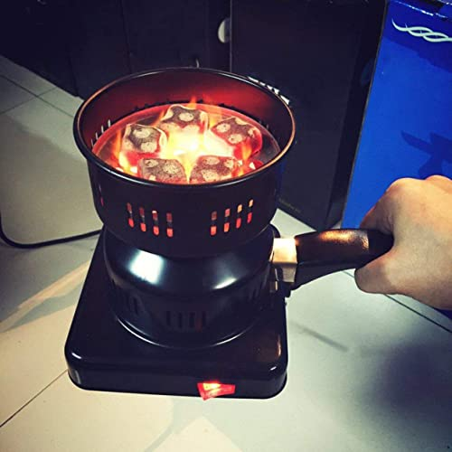 650W Metal Electric Charcoal Burner Including Removable Tray + Tongs Thickened Charcoal Stove for Household Use(Color:Black)