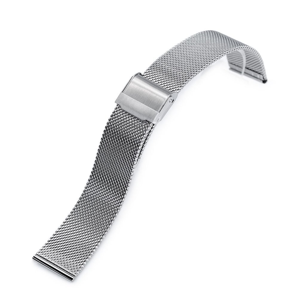 20mm Classic Vintage Knitted Superfine Wire Mesh Watch Band, Polished