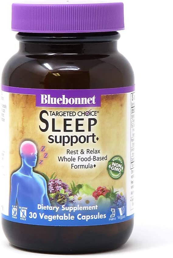 Bluebonnet Nutrition Targeted Choice Sleep Support, Rest & Relaxation Whole Food-Based Formula, Sleeplessness, Soy-Free, Gluten-Free, Kosher, Non-GMO, Dairy-Free, Vegan, 30 Vegetable Capsules