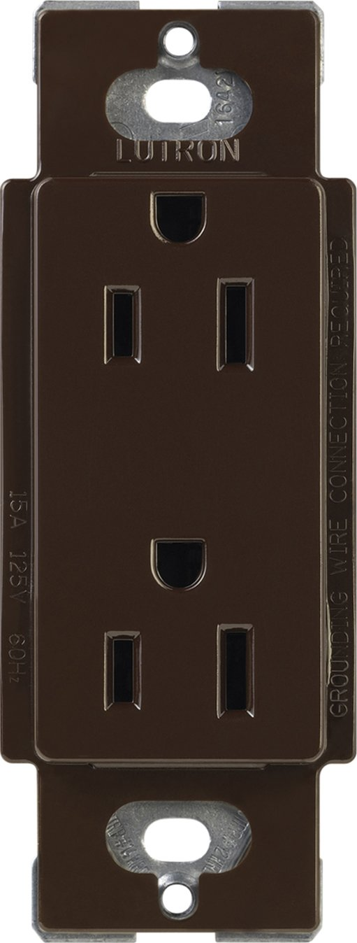 Lutron CARS-15-TR-BR Claro 15-Amp Tamper Resistant Receptacle, Brown