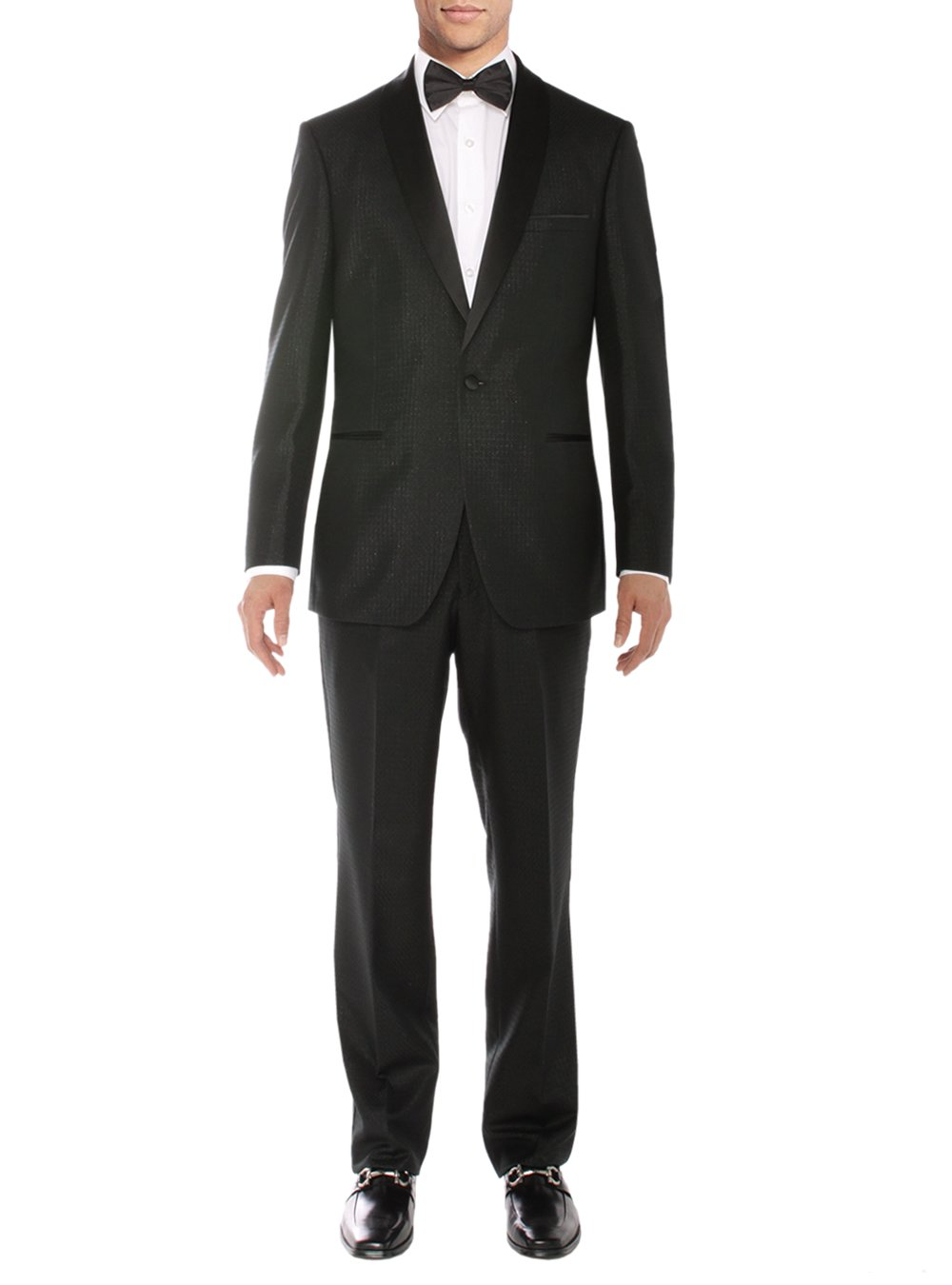 Salvatore Exte Men's One Button Tuxedo Suit Shawl Lapel Jacket Flat Front Pants (52 Regular US/62R EU/W 46'', Black)