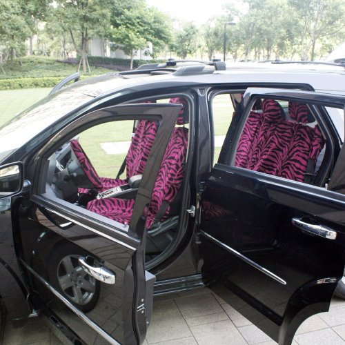 OxGordR 17pc Set Of Zebra Print Car Seat Covers W Deluxe Velour Animal Steering