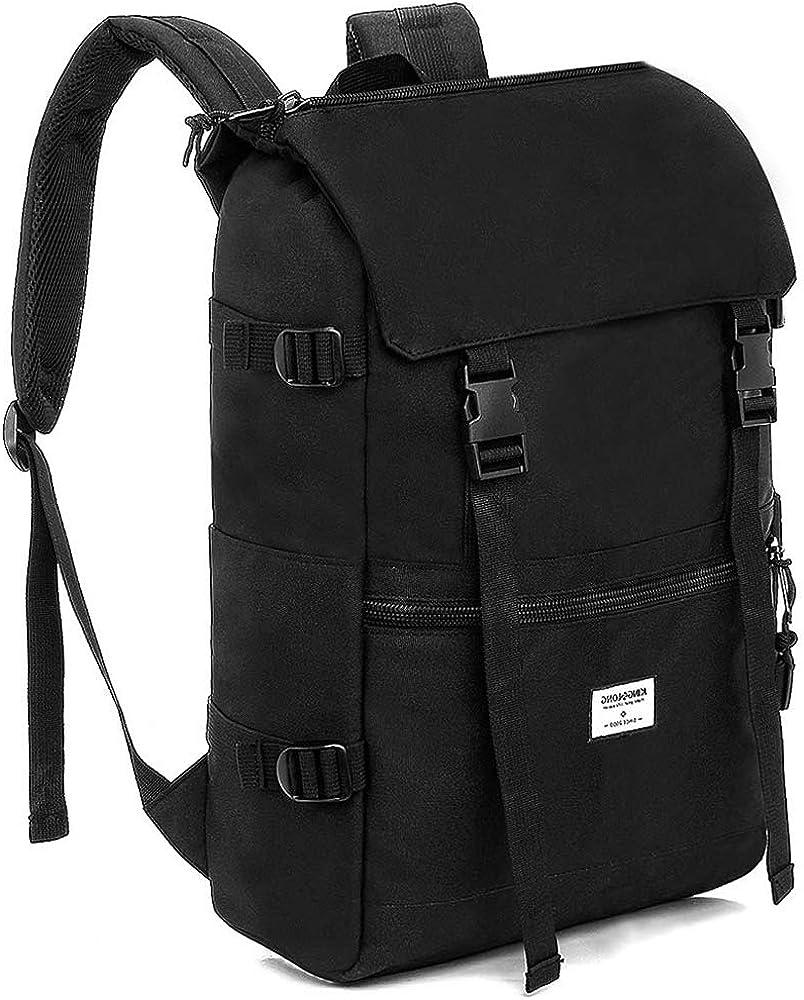 KINGSLONG Laptop Outdoor Backpack 15.6 Inch Top-Flap Men Rucksack for Travel, Hiking, Camping
