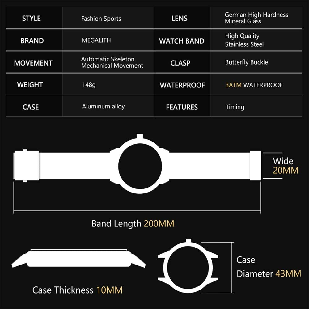 2020 orologio da polso da uomo orologi meccanici automatici da uomo 30 m impermeabile orologio da uomo sportivo da polso meccanico Oro2