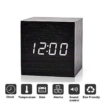 Reloj Despertador Digital, Cubo LED de Madera Tres conjuntos de alarmas con Exhibición de tiempo LED: Amazon.es: Hogar