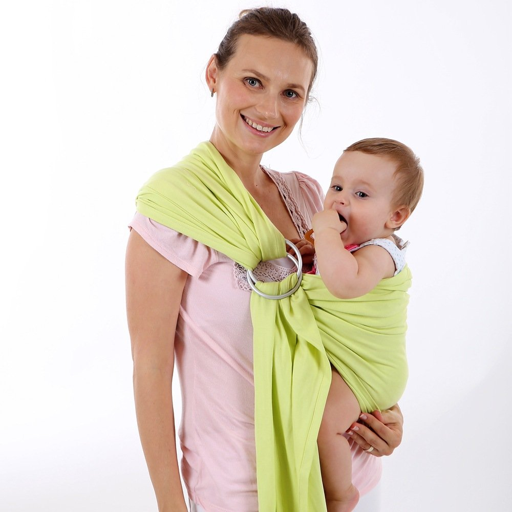 ThreeH Soft Baby Wrap Organic Cotton Ring Sling Carrier for Newborns Nursing Cover BC14,Pink
