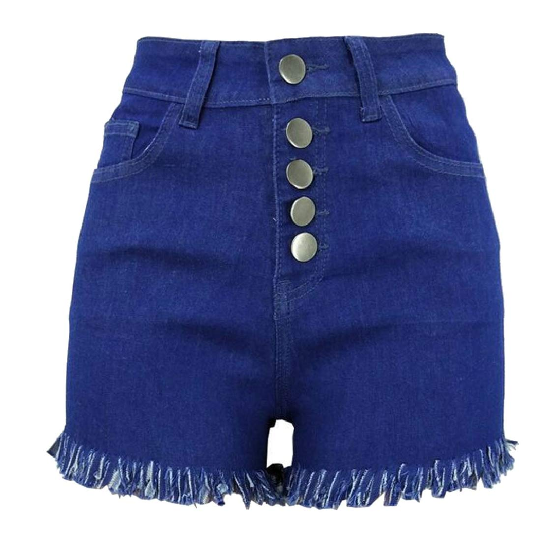 SHOWNO Womens Tassels Stretchy Casual High Waist Buttons Denim Jeans Shorts