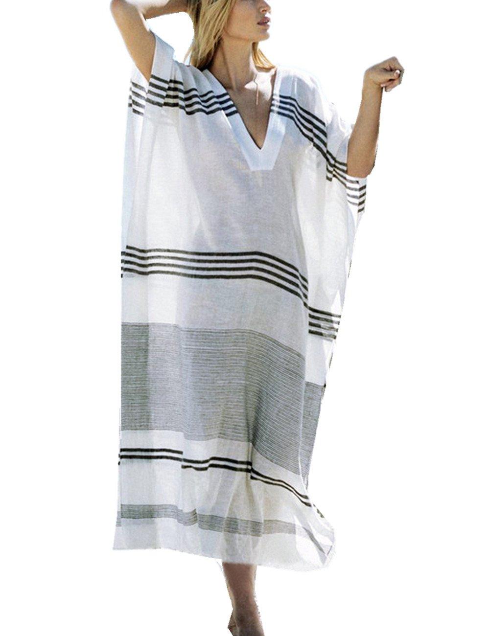L-Peach Women's Summer Fashion V Neck Stripe Printed Loose Long Kaftan Bikini Cover Up Elegant Beach Dress One Size