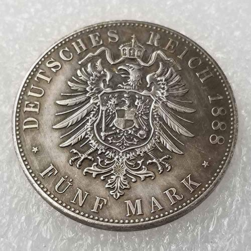 WuTing Antique German Liberty Old Uncirculated Coin- Prussia 5 Mark-William II 1888 Old Coins-Great German Old Coins-Discover History of Coins Great American Coin