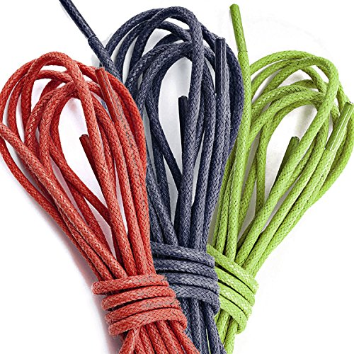 Lime Oxford PACK PAIRS Shoelaces Green Hiking Round DailyShoes Shoes 3 3 Red Dress Flat Thin Waxed for Pairs Navy qOfwxv
