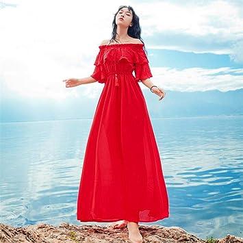 BMKWSG-LIANYIQUN Vestido de Verano para Mujer, un Hombro, Dos con ...