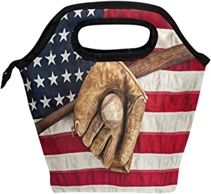 Wamika Vintage Baseball Bat Glove And Lunch Bag Tote Lunchbox Handbag, American Flag Patriotic Usa Star Stripe Boys Girls Women Insulated Food Container Gourmet Cooler Warm Pouch For School Work Off