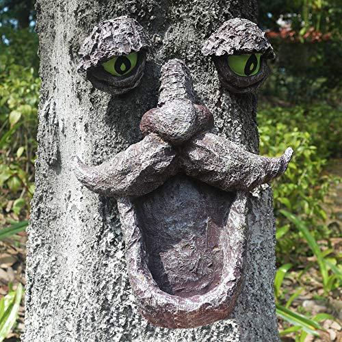 jinhuoba Wild Bird Feeder, Tree Face and Big Eye Feeder, Whimsical Tree Hugger Sculpture -Outdoor & Garden Decor
