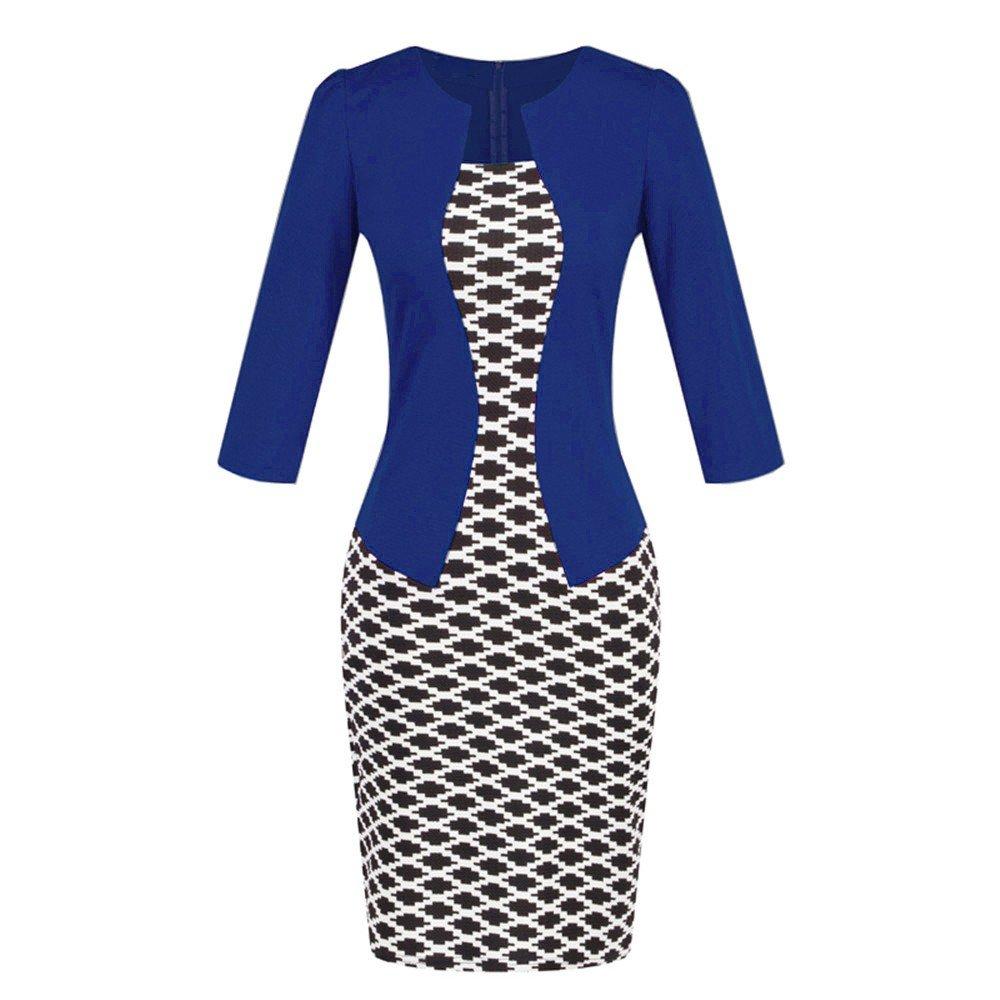 Birdfly Office Women's Plaid Patchwork Pencil Skirts Formal Working Dress with Three Quarter Sleeve.Plus Size 2L 3L (M, Dark Blue(93))