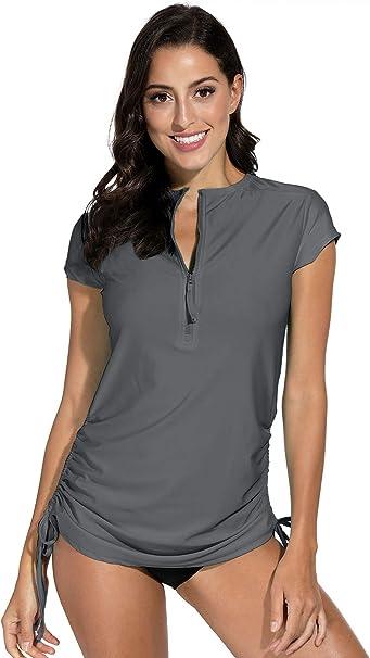 BesserBay Womens UV Sun Protection Zip Long Sleeve Rash Guard Swimsuit Top