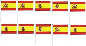 Tanto Badges Paquete De 10 X Banderas De Bandera De España De Mano: Amazon.es: Juguetes y juegos