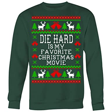 abc07f0f2be7 Amazon.com  Die Hard is My Favorite Christmas Movie - Ugly Christmas  Sweatshirt  Clothing
