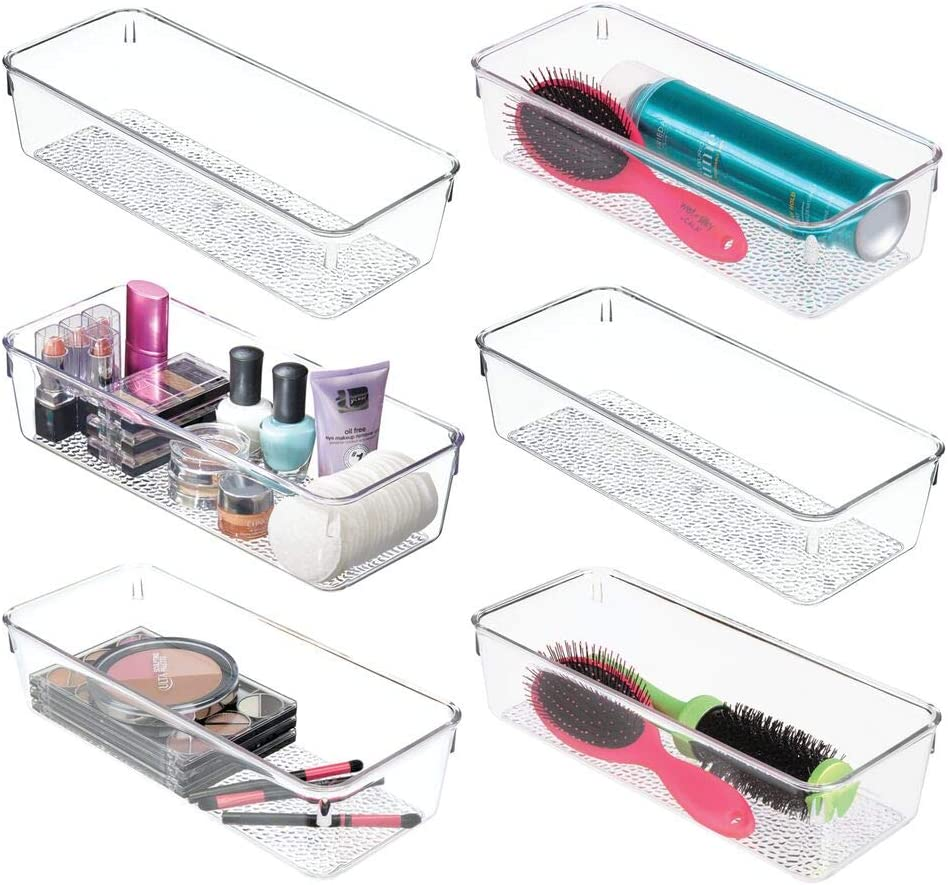 "mDesign Plastic Drawer Organizer Storage Tray for Bathroom Vanity, Countertop, Cabinet - Holds Makeup Brushes, Eyeliner, Lip Pencils, Hair Accessories - Textured Base, 5"" Wide, 6 Pack - Clear"