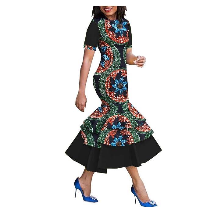 Amazon.com: 2019 Vestido de cera con estampado africano para ...