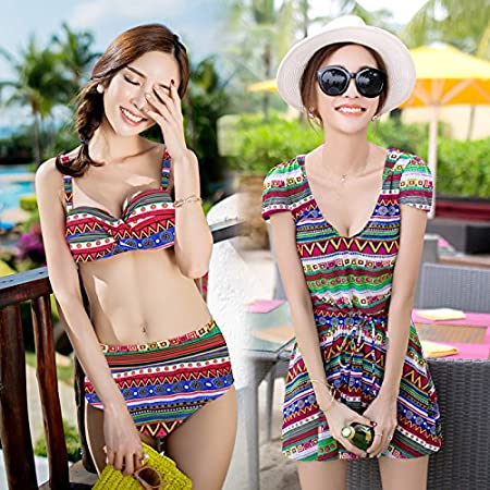 ZHANGYONG*Swimming Suit female bikini 3 piece-skirted black poverty  conservative cap cover up