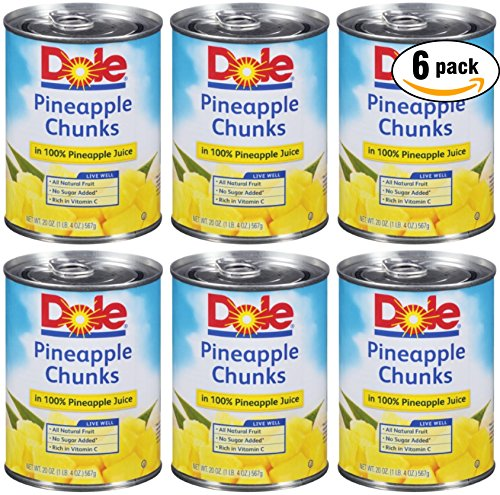 Dole Pineapple Chunks In 100% Pineapple Juice, 20oz Can (Pack of 6, Total of 120 - Dole Chunks Pineapple