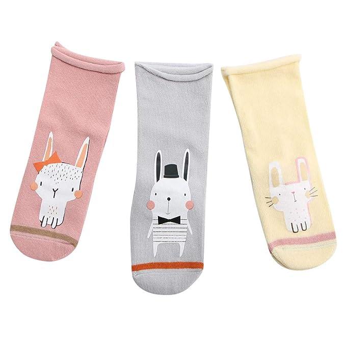DEELIN Calcetines Para Bebé 3 Pares Bebé ReciéN Nacido Dibujos Animados Gato Fox Animal Calcetines De Piso Antideslizantes Calcetines De Paso Calcetines ...