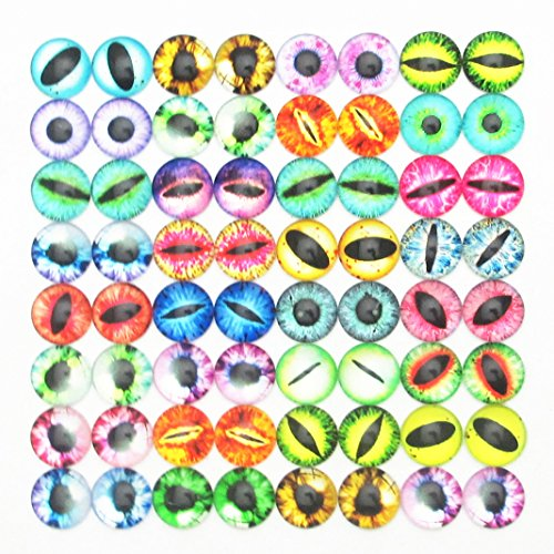 Dandan DIY 40pcs 10mm/0.4'' Assorted Colors Cool Eye Glass Resin Flatback Flat Backs Glass Dragon Cat Eyes Phonecover Scrapbooking Diy Handmaking Craft Supply (10mm/0.4'')]()
