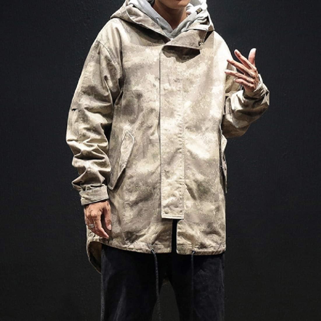 Andopa Mens Regular-Fit Windproof with Hood Fleece Thicken Coat Jacket