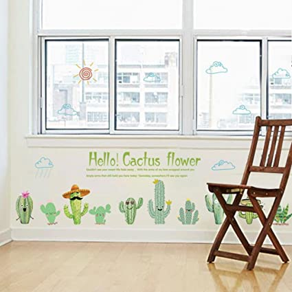 Gaweb Lovely Cactus DIY Wall Art Sticker Bedroom Living Room Classroom Home  Decor