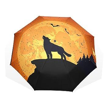 GUKENQ - Paraguas de Viaje para Halloween con diseño de Lobo, Ligero, antirayos UV