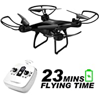 allcaca RC Drone Telecomandato per Bambini 23 Minuti di Volo, modalità Senza Testa, Vibrazione 3D, Quadcopter GPS Un Ritorno Chiave, LED di Navigazione Leggera per Principiante, Nero