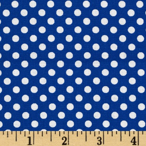Santee Print Works Spot On Mini Dots Royal Fabric by The Yard ()