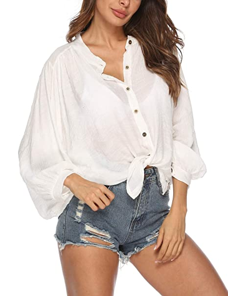 fdb9bae1547c4b Kistore Womens Coverups Tunic Long Sleeve Loose Bat Button Down Shirts Tie  Beach Cover Up