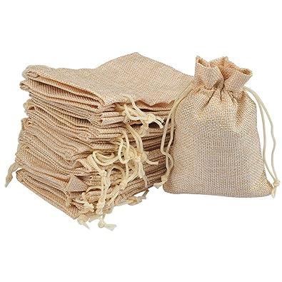 FOCCTS 25pcs Bolsas Naturales de Regalo Joyas - Bolsas de arpillera de Lino y algodón con Bolsas de Regalo con cordón Bolsa de joyería para Banquete ...