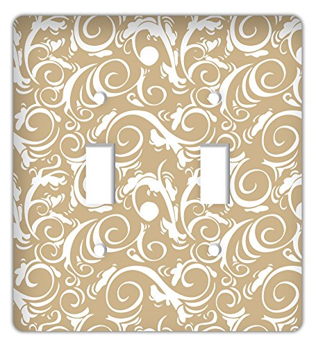 Beige Switchplate - Damask Trendy Printed Double Switchplate Cover, Sand