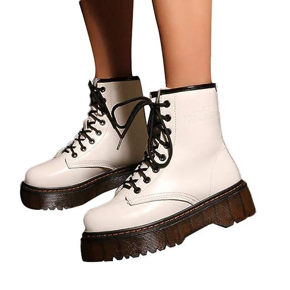 Botas y Botines Militares Plataforma para Mujer Otoño Invierno 2018 Moda  PAOLIAN Botas Vaqueras con Cordones Medio Botas Biker Botas Camperas Zapatos  Cuero ... 72637dcdf81