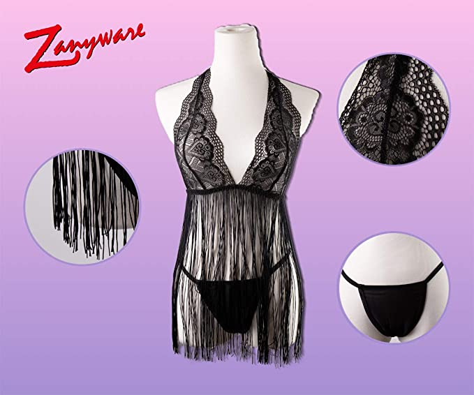 b46b24029 Zanyware Womens Tassel Transparent Babydoll Sexy Lingerie Sleepwear at  Amazon Women s Clothing store